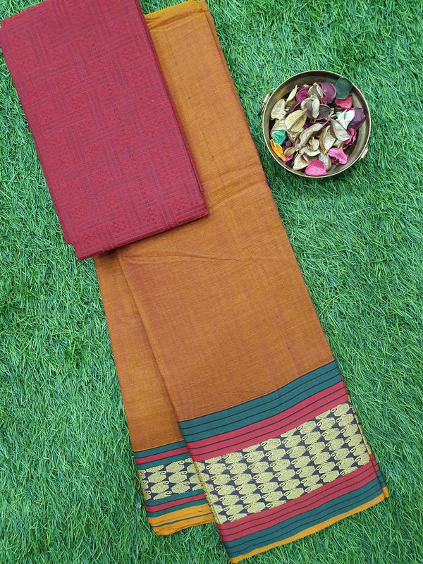 Narayanpet cotton saree rust and green with woven blouse