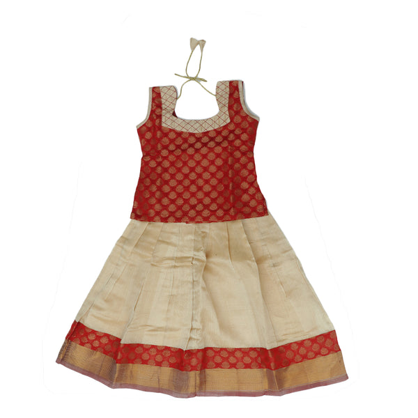 Silk cotton pavadai sattai sandal and red with brocade blouse and zari border - 3 years