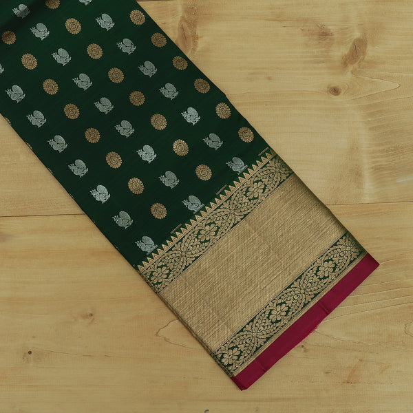 Pure Silk Pavadai material green with magenta silver and golden butta 6 to 10 years