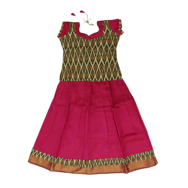 Silk cotton pavadai sattai pink with ikkat pattern blouse and zari border - 10 years