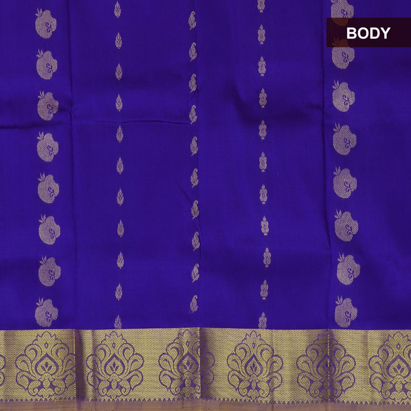 Pure Silk Pavadai material violet with yellow golden lines 0 to 2 years