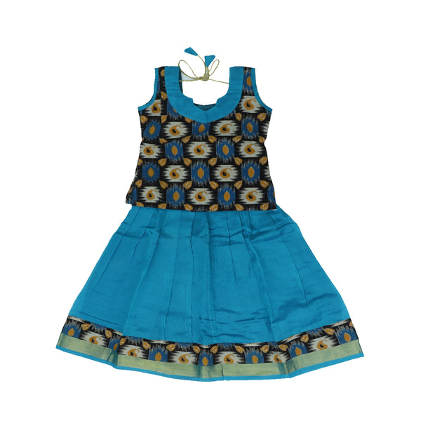 Silk cotton pavadai sattai copper sulphate blue and black with ikkat pattern with zari border - 3 years