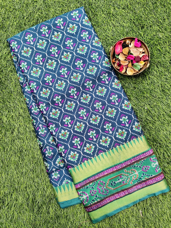 Semi tussar saree peacock blue and green with ikkat prints and zari border