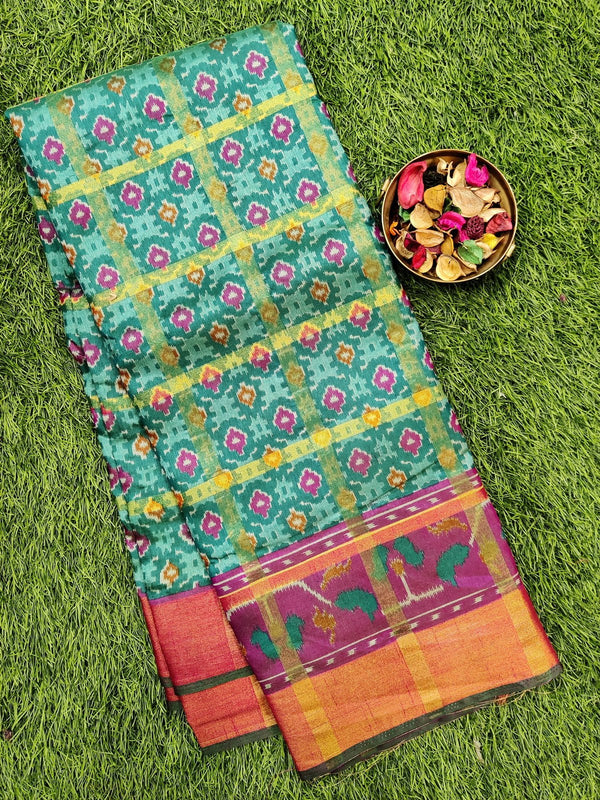 Semi tussar saree green and purple with ikkat prints and zari border