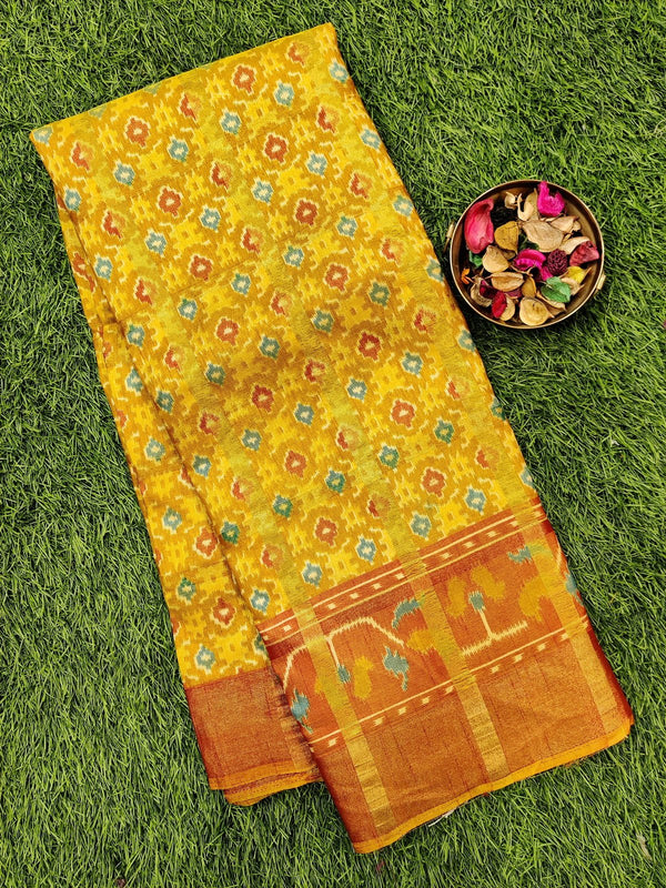 Semi tussar saree mustard and rust with ikkat prints and zari border