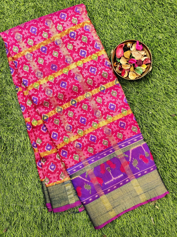Semi tussar saree pink and violet with ikkat prints and zari border