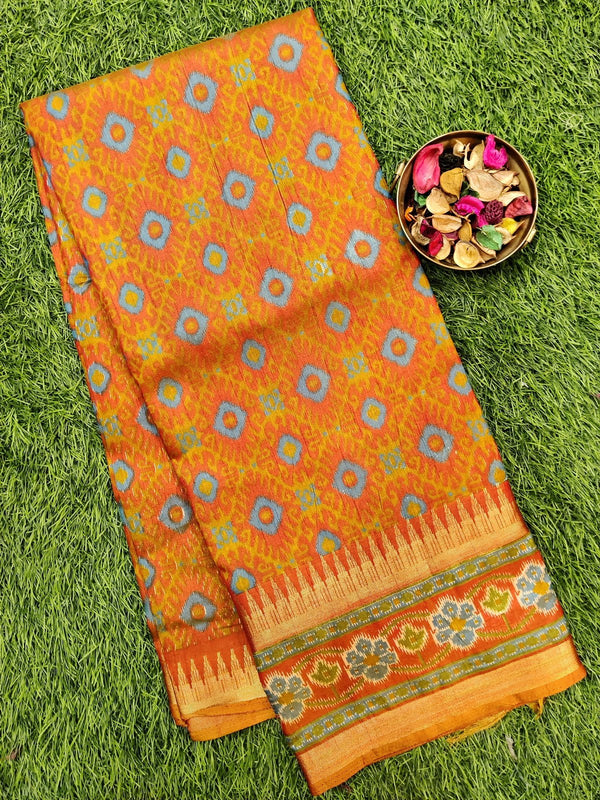 Semi tussar saree rust with ikkat prints and zari border