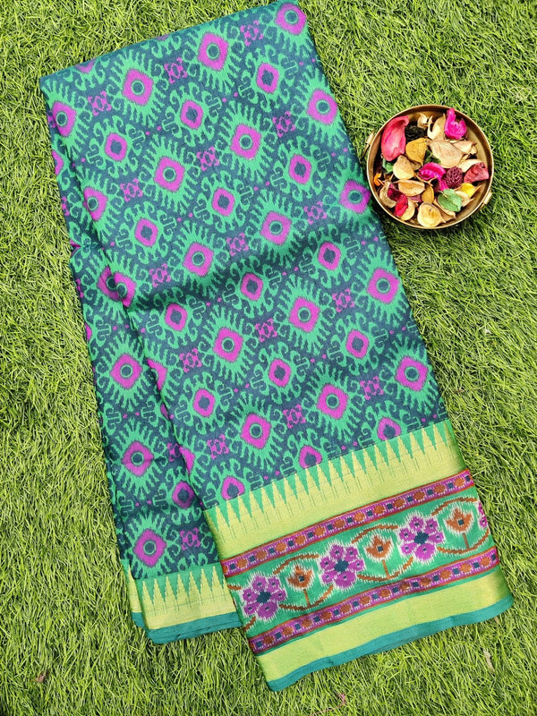 Semi tussar saree green with ikkat prints and zari border
