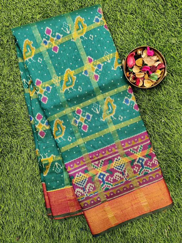 Semi tussar saree peacock green and pink with ikkat prints and zari border