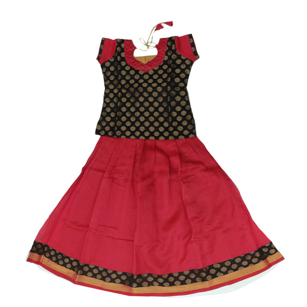 Silk cotton pavadai sattai red and black with brocade blouse and zari border - 8 years