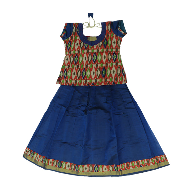 Silk cotton pavadai sattai blue with ikkat pattern blouse and zari border - 9 years