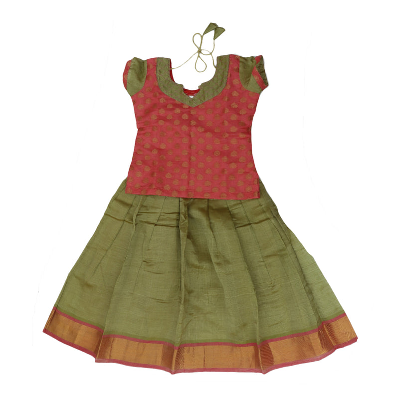 Silk cotton paavadai sattai olive green shade and pink brocade blouse with golden zari border ( 4 years )