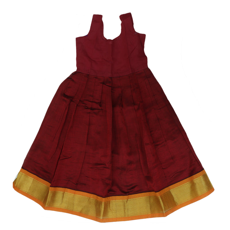 Silk cotton paavadai sattai maroon and mango yellow with golden zari border ( 6 years )