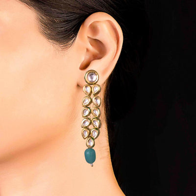 Dangling Kundan Layered Earrings