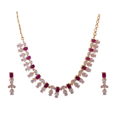 Pink And White Zircon Necklace