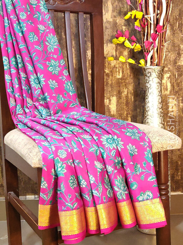 Mysore crepe silk saree pink with floral prints