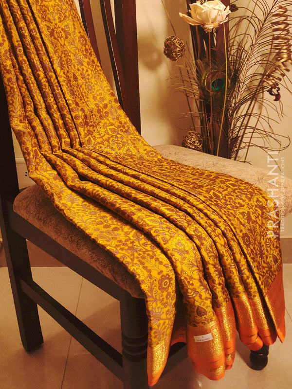 Mysore crepe silk saree mustard and orange with floral prints