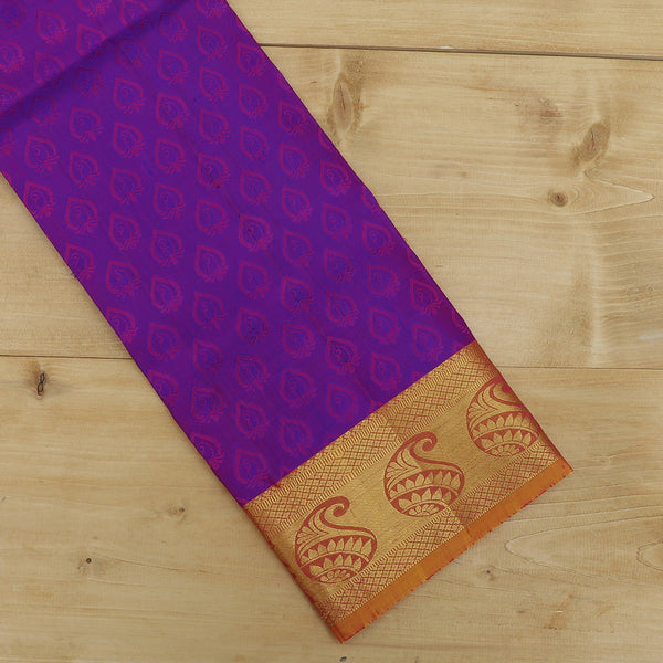 Pure Silk Pavadai material purple with golden yellow self embose 6 to 10 years