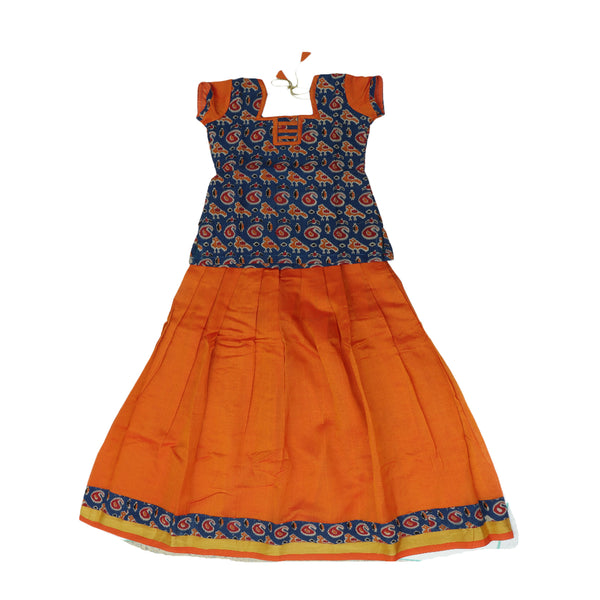 Silk cotton pavadai sattai orange and blue with ikkat pattern blouse and zari border - 9 years
