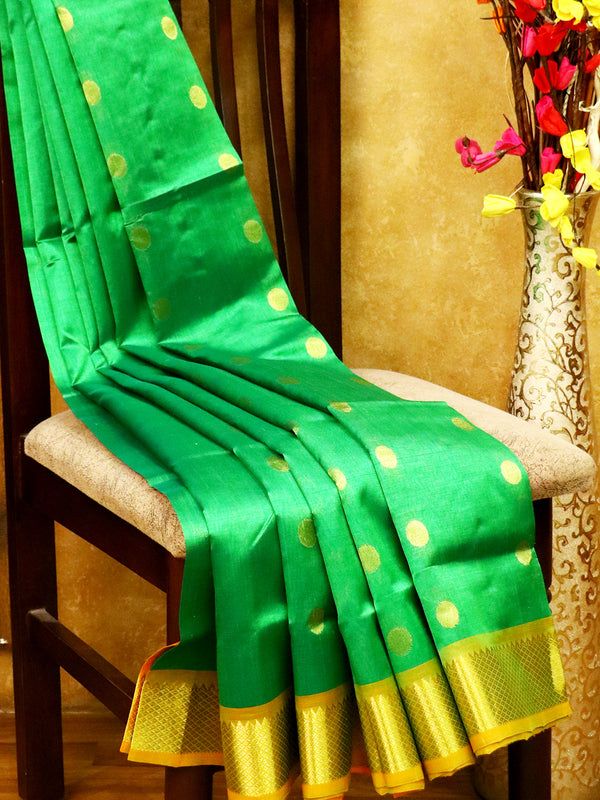 Silk Cotton Saree green and yellow with rich zari border and coin buttas
