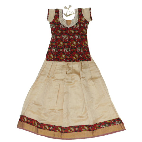 Silk cotton pavadai sattai sandal and red with kalamkari blouse and golden zari border - 9 years