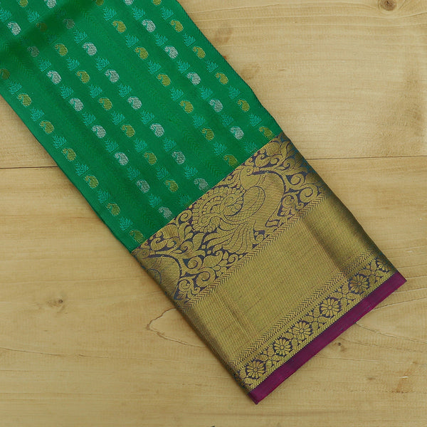Pure Silk Pavadai green with pink self emboss and zari buttas 3 to 5 years