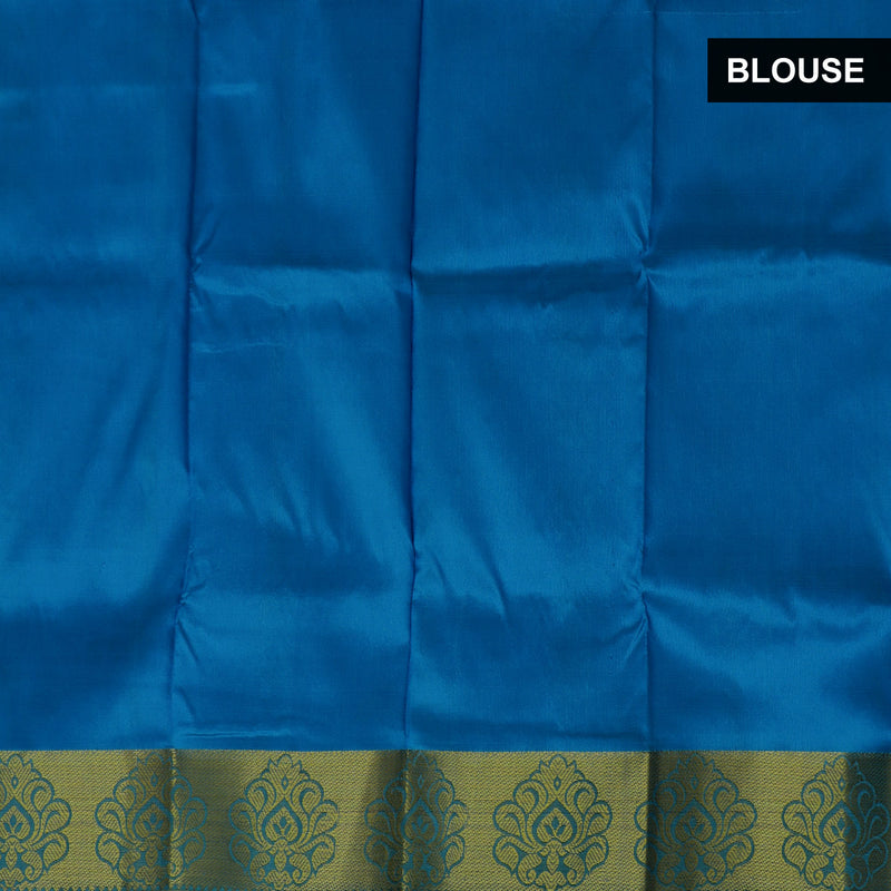 Pure Silk Pavadai material sky blue with yellow golden lines 0 to 2 years