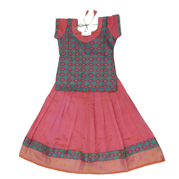 Paavadai Sattai -Pink and Blue with Embroidery and Peach with zari border(5 years)