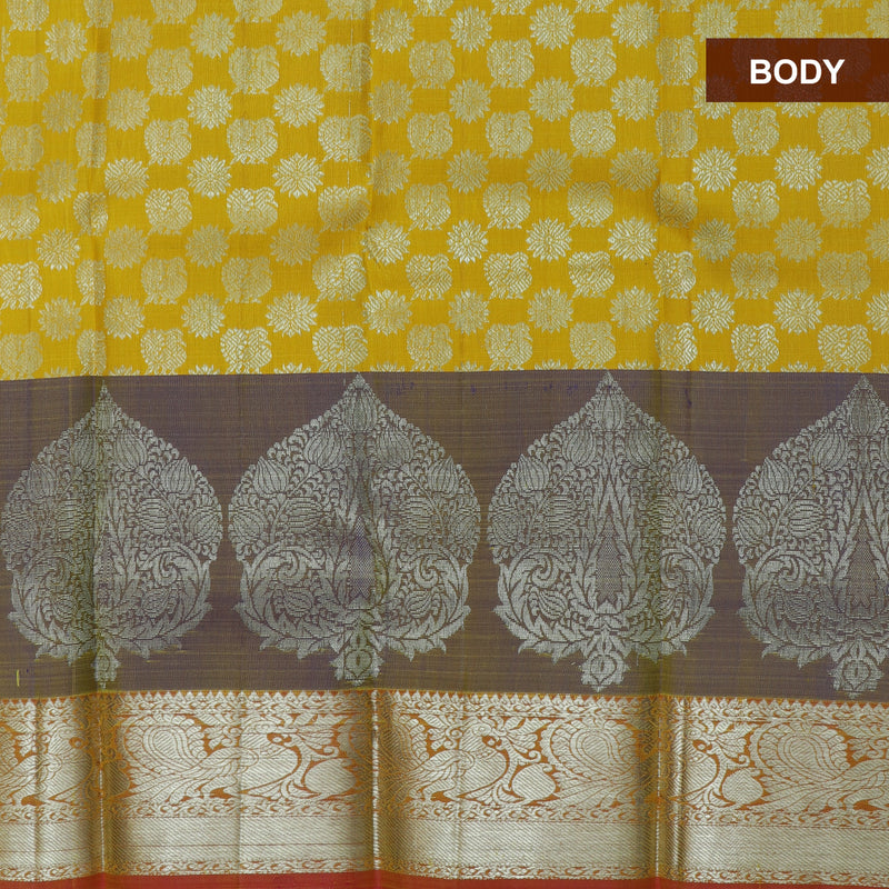 Pure silk pavadai material yellow and pink with overall silver zari buttas and silver zari border for 0 to 2 years