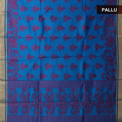 Mercerised cotton saree blue with pink thread work