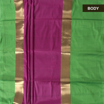 Art Silk Saree Magenta and Green with Long Border