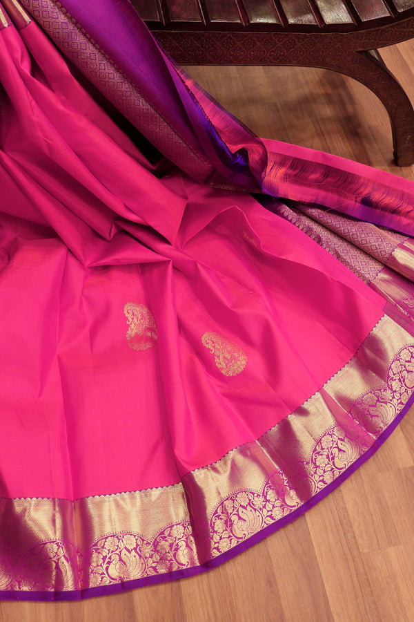 Pure Kanjivaram silk saree candy pink and purple with paisley elephant zari buttas and peacock border for Rs.Rs. 11245.00 | Silk Sarees by Prashanti Sarees