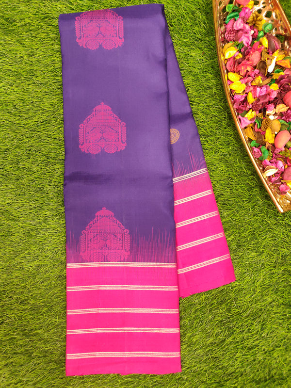Pure Soft Silk saree navy blue and magenta with lines of silver zari