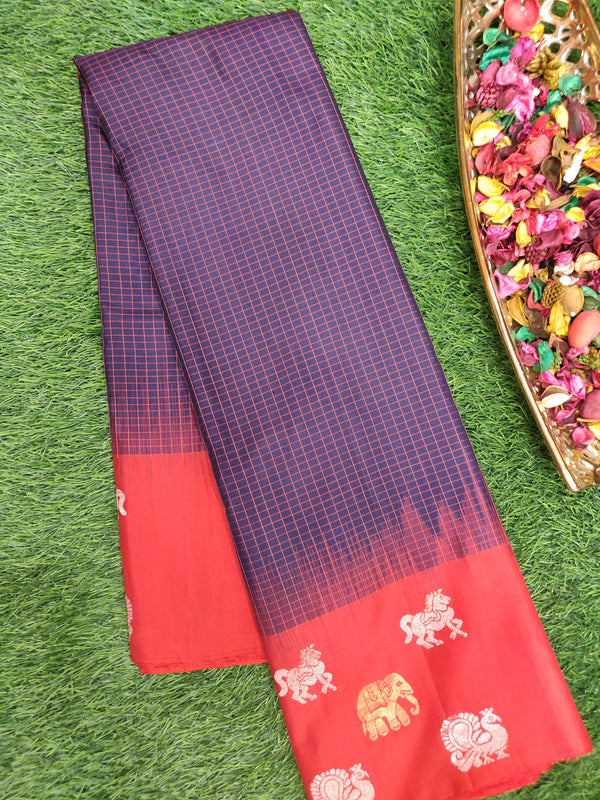 Pure Soft Silk saree navy blue and red with checked pattern and annam elephant buttas
