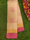 Pure Soft silk saree cream and pink with thread woven buttas