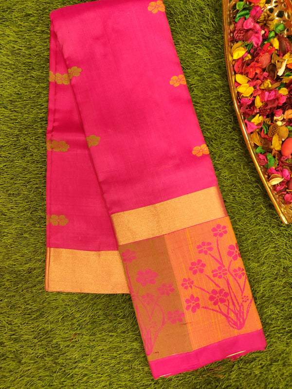 Pure Soft silk saree onion pink with thread woven floral border and floral thread buttas