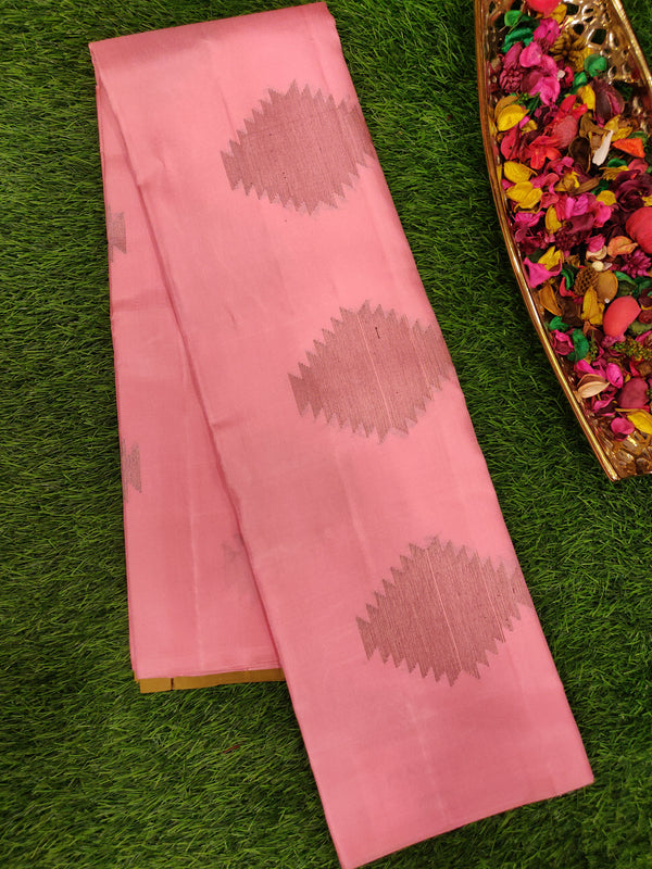 Pure Soft silk saree baby pink with mehendi green and copper zari buttas for Rs.Rs. 7670.00 | Silk Sarees by Prashanti Sarees