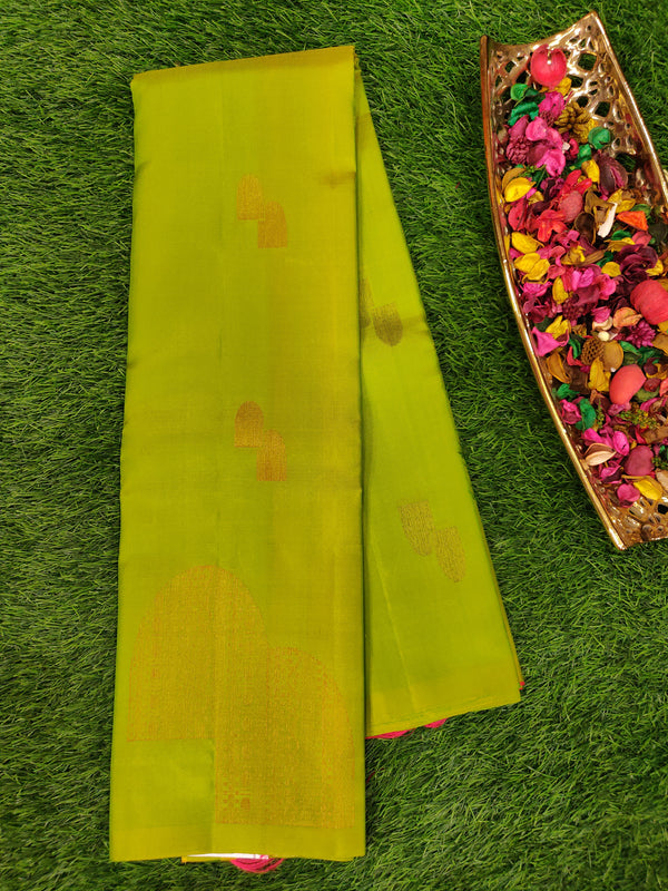 Pure Soft silk saree parrot green with pink and copper zari buttas