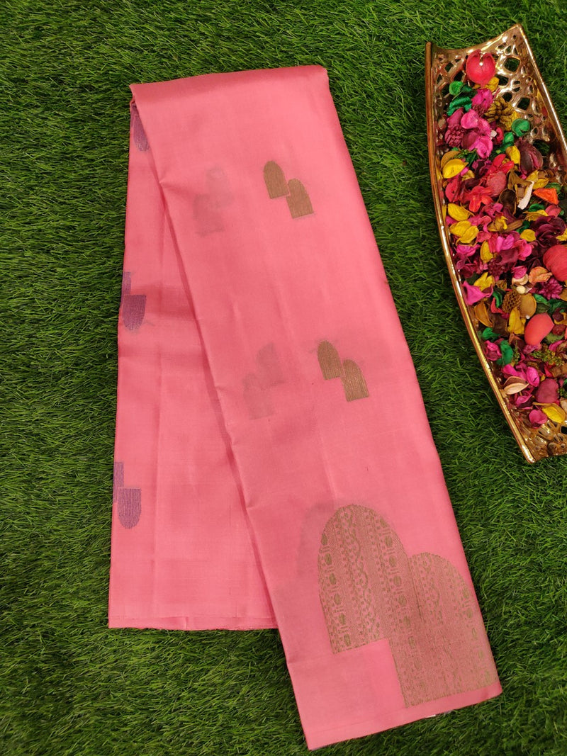 Pure Soft silk saree baby pink with grey and copper zari buttas in borderless style