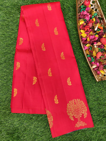 Pure Soft silk saree red and grey with copper zari buttas in bordeless style