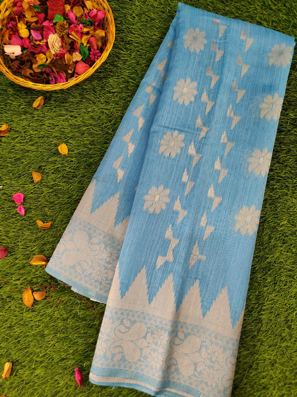 Silk Linen saree sky blue with floral and temple thread border