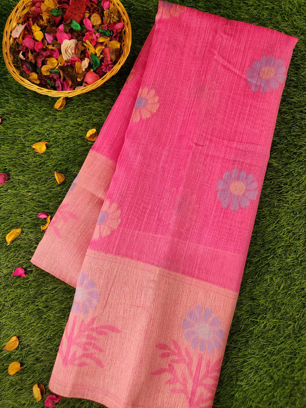 Silk Linen saree baby pink with contrast floral thread border and thread buttas