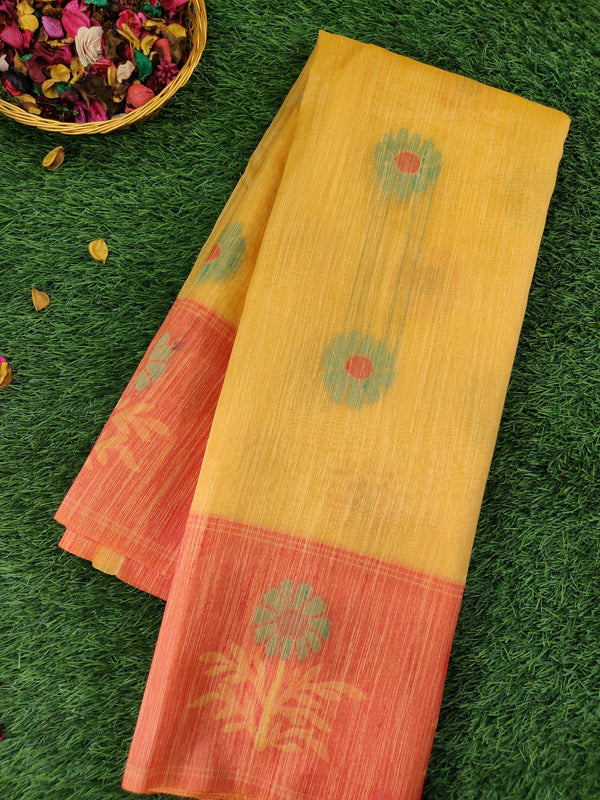 Silk Linen saree yellow with contrast floral thread border and thread buttas for Rs.Rs. 1930.00 | Linen Sarees by Prashanti Sarees