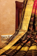 Rajkot patola silk saree maroon and black with golden zari border