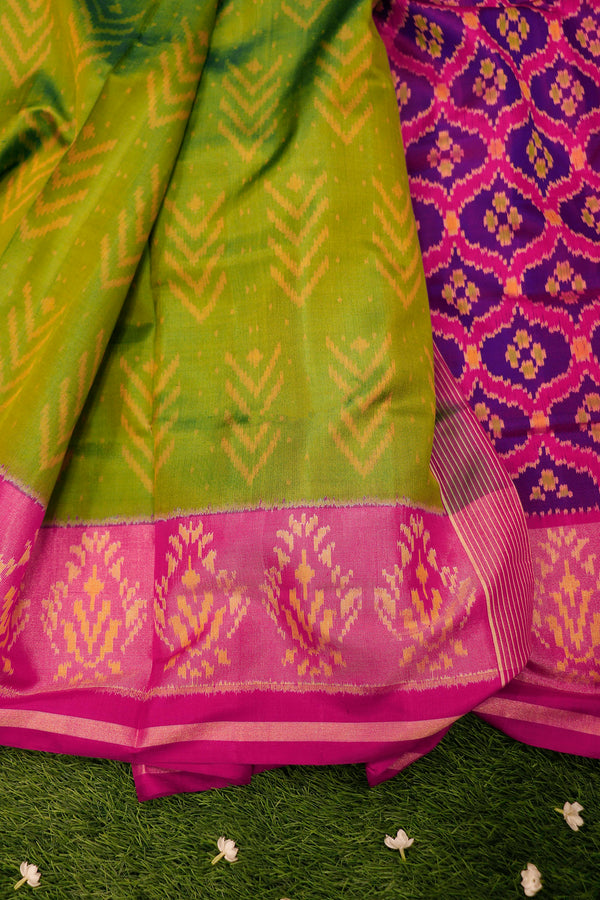 Rajkot patola silk saree parrot green and pink with golden zari border