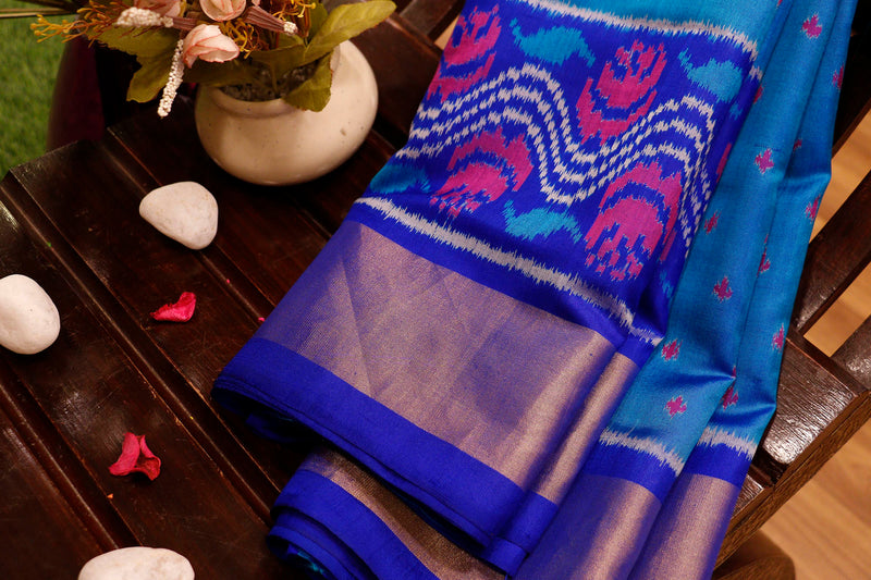 Rajkot patola silk saree dual shade of copper sulphate blue and royal blue with golden zari border