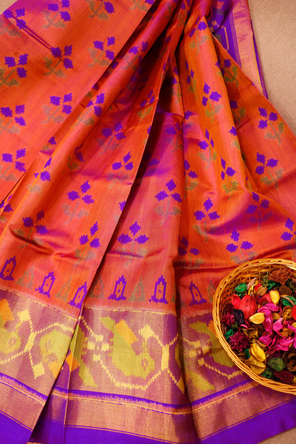 Rajkot patola silk saree dual shade of pink and purple with golden zari border