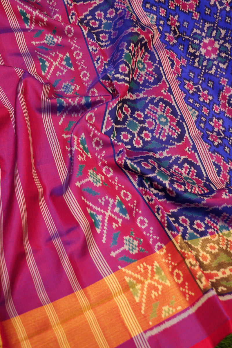 Rajkot patola silk saree blue and dual shade of purple with golden zari border