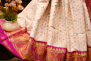 Rajkot patola silk saree off white and pink with golden zari border