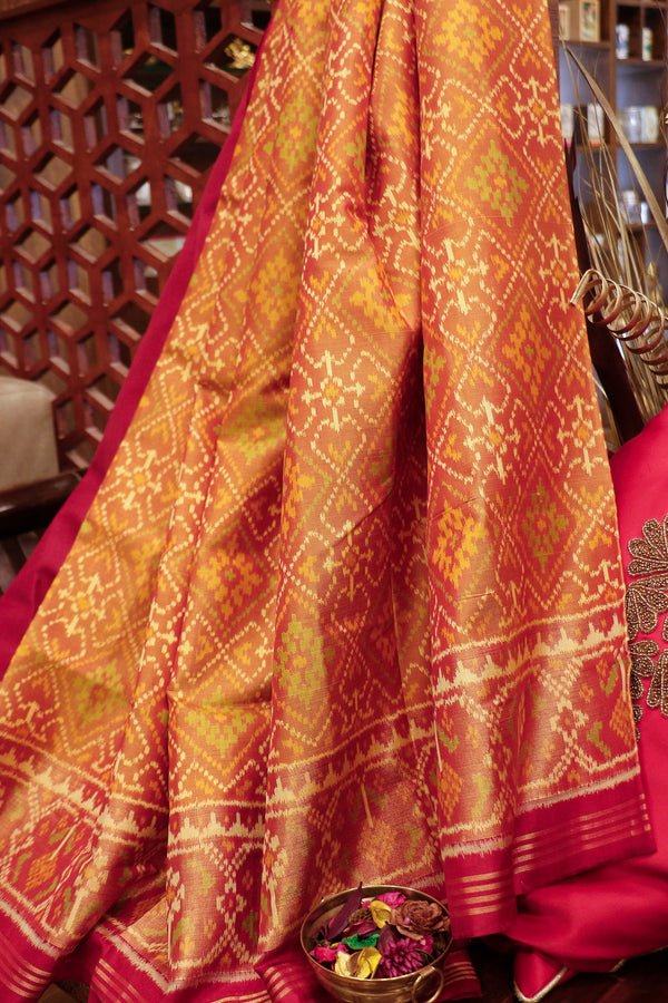 Rajkot patola silk saree dark mustard yellow and maroon with golden zari border
